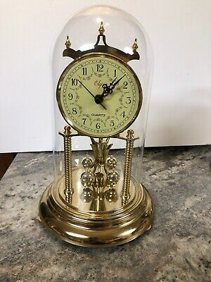 """Vintage Elgin Anniversary Clock - 12"""" Tall - Glass Dome - Works"""