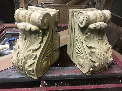 "pair c1880/90 Composition corbel brackets acanthus leaf detail 12"" x 8"" h x 7.75"