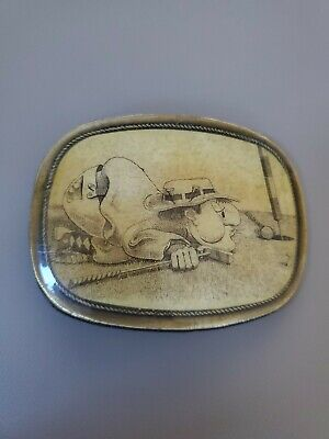Vintage Belt Buckle golf cartoon golfer on ground blowing ball into hole!