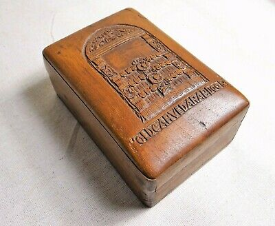 "Antique Aesthetic Movement Inspired Carved Hardwood Box w ""Old Carved Arab Door"""