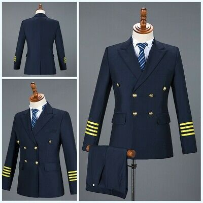 Mens Long sleeve Slim fit Blazer jackets Pants Suits Flight Captain Uniform Chic