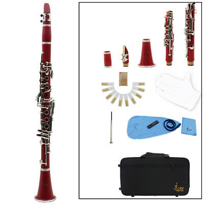 Brand New Professional School Band Student Keys Bb Clarinet Red S7J4