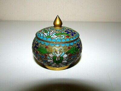 Antique Chinese Japanese Copper Enamel Champleve Trinket Jewel Box
