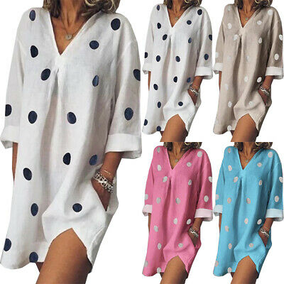 Womens Spotted Long Tops Blouse Ladies Summer Beach Shirt Dress Plus Size 8-22
