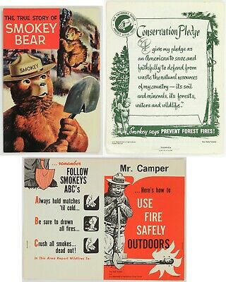 1950s-60s Smokey the Bear Conservation Pledge and Comic