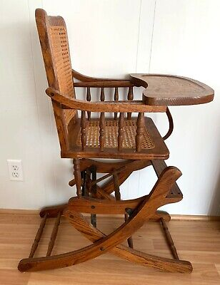 Antique Oak Wood Wicker Children's Highchair Rocking Chair Combo Child Ornate