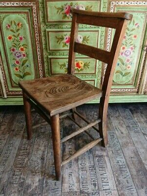 Victorian Beech Elm Chapel Chair Church rustic Country dining English antique
