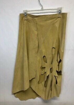 c7a3dfa391cd Runway GUCCI TOM FORD Beige Suede Leather Flower Cut Out Wrap Skirt Sz 42