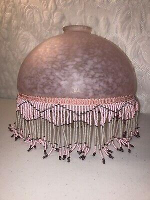"Vtg Large 9.5"" Frosted Confetti Glass Lamp Shade Pink White Dome Beaded Fringe"