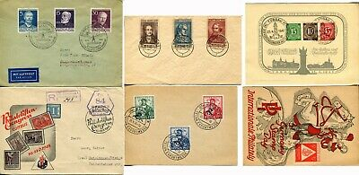 6 GERMANY Berlin Postwar Covers Cards Postage Stamps Collection 1946-1953