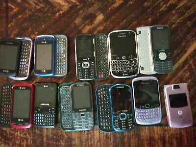 Lot of old vintage slide phones cell phones