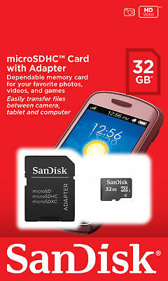 32GB - SanDisk CLASS 4 micro SD SDHC microSD Flash Memory Card + Adapter