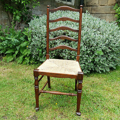 Arts & Crafts Oak & Rush Seat Country Kitchen Dining Chair