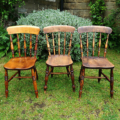 Victorian Elm Set of 3 Matched Windsor Country Kitchen Dining Chairs C19th