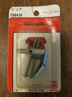 """Toggle Bolts 1/8"""" x 2"""" Steel/Zinc Plated 4-Pieces"""