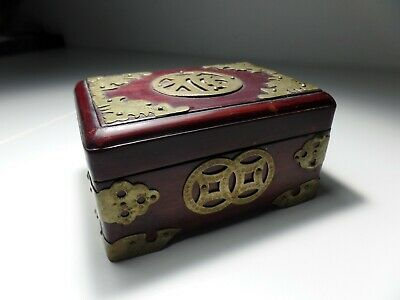 Vintage Chinese Etched Brass Jewelry Box Carved