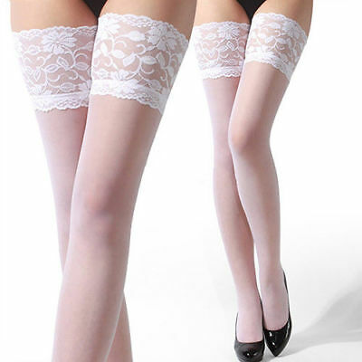 Sexy Romantic Wedding White Lace Top Stay Up Thigh-High Stockings Women's One Sz