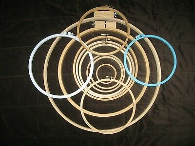 VINTAGE Lot of 12 WOOD ROUND EMBROIDERY, QUILTING HOOPS; ADJUSTABLE; 2 PLASTIC