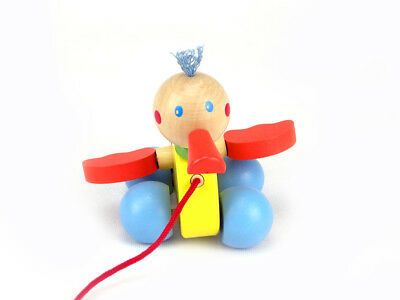 PULL ALONG DUCK Wooden Toy QUALITY Baby 1st Birthday Boy Girl GIFT Free Shipping