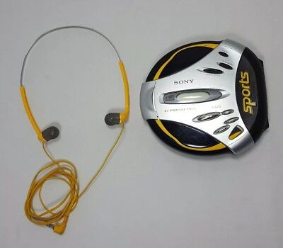 Sony D-SJ15 WORKS TESTED Portable Sports CD Headphones Walkman Player YELLOW