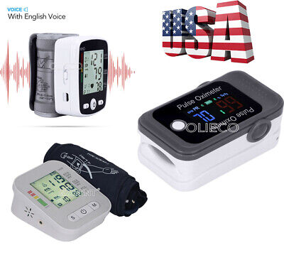 Digital Voice Blood Pressure Monitor &Bluetooth Pulse Oximeter Blood Oxygen SpO2