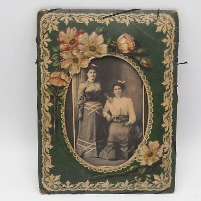 Antique Floral Picture Frame w/ B&W Photograph of Two Women