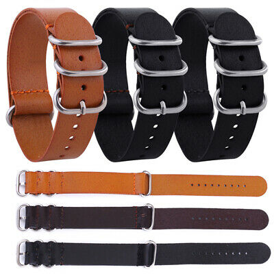 Fashion Men's 18mm/20mm/22mm Leather Military Buckle Watch Strap Band Hot