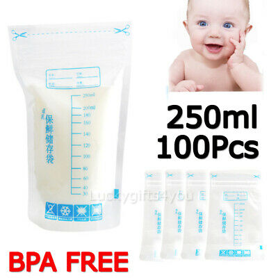 100X Breast Milk Storage Bag Seal Pouch Baby Food Container Leakproof 250ml AU