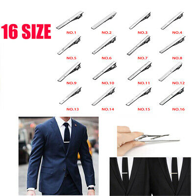 Mens Silver Stainless Slim Tie Pin Clip Clasp Bar office Christmas