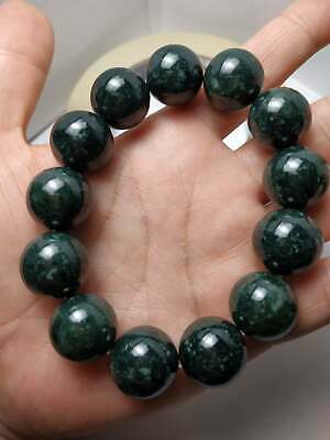 100% Natural Genuine Burmese Jadeite Jade Beaded Bracelet Grade A #6668