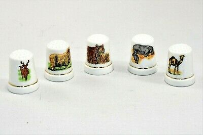 Vintage Ceramic Colorful Printed Wild Animal Thimble Collection Lot JAPAN