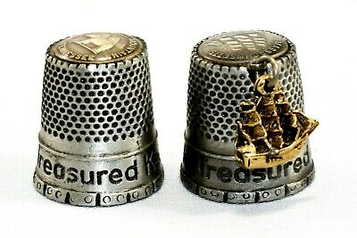 Treasured Keepsake Collectible Pewter Thimble Lot ~ Tennessee ~ Massachusetts