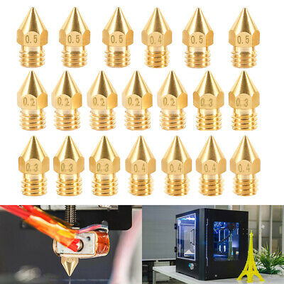 5PCS 3D Printer Nozzles 0.2/0.3/0.4/0.5mm For Creality Ender 3/Pro CR-10 CR-10S