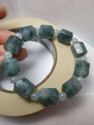 100% Natural Genuine Burmese Jadeite Jade Hexagonal Beaded Bracelet Grade A #668