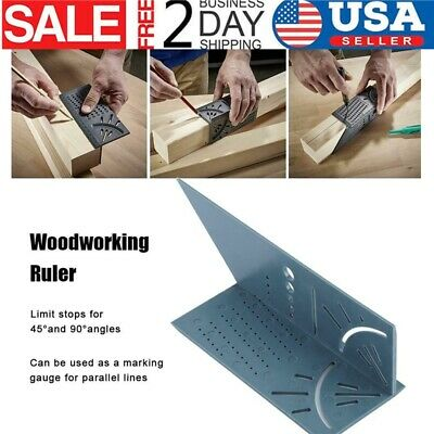 New Woodworking Ruler 3D Mitre Angle Measuring Gauge Square Size Measure Tool US