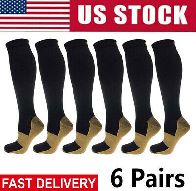 (6 Pairs) 20-30mm Hg Knee High Copper Compression Socks Mens / Womens S-XXL USA