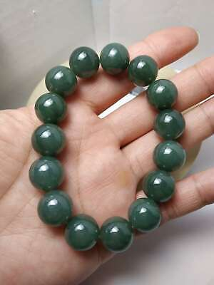 100% Natural Genuine Burmese Jadeite Jade Beaded Bracelet Grade A #628