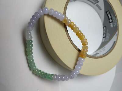 100% Natural Genuine Burmese Jadeite Jade Beaded Bracelet Grade A #681 Color
