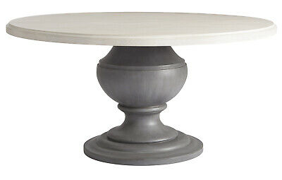Pedestal Dining Table Round Cottage Furniture White Solid Wood 42