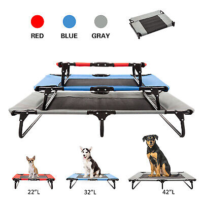 Elevated Cooling Pet Bed Dog Cat Lounger Folding Steel Frame Breathable Mesh Mat
