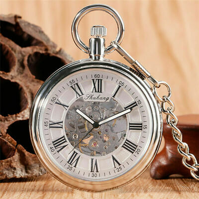 Retro Open Face Men's Hand Winding/Automatic Mechanical Pocket Watches FOB Chain