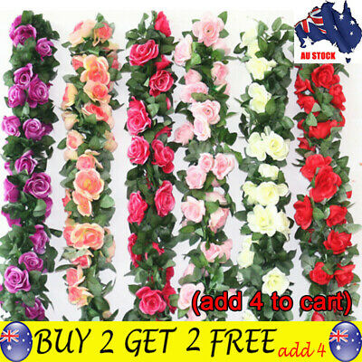 2X=5M 8Ft Artificial Rose Garland Silk Flower Vine Ivy Wedding Garden Decors TH