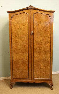 Antique Burr Walnut Wardrobe / Small Vintage Double Wardrobe Queen Anne Style