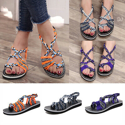 Womens Beach Flip Flops Sandals Ladies Bandages Summer Casual Flat Shoes Size4-7