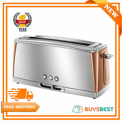 Russell Hobbs Stainless Steel Luna 2 Slice Long Slot Toaster in Copper 24310