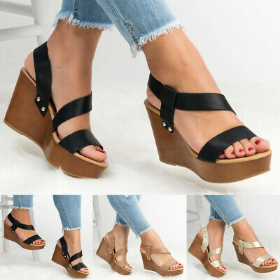 Womens Platform Wedge Sandals Ladies Holiday Party Ankle Strap Summer Shoes Size