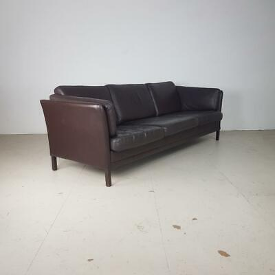 Vintage Danish Brown Leather 3 Seater Sofa Mogensen Style Midcentury#2670