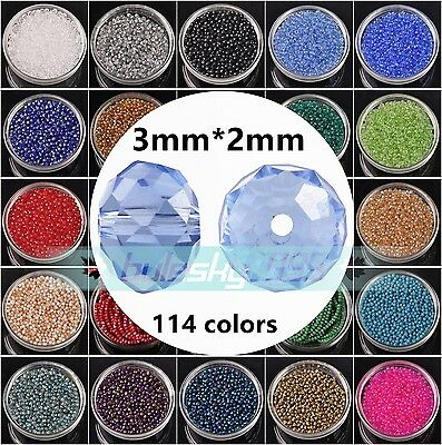 200pcs 2x3mm Rondelle Faceted Crystal Glass Loose Spacer Beads lot 140+ Colours