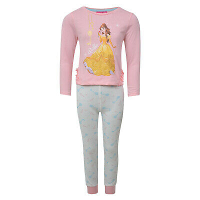 Girls Pyjamas Disney Princess Belle Ex Uk Store Cuffed Hems Night Wear Pj Set