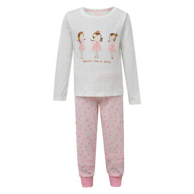 Girls Pyjamas Sparkle Like A Fairy Ex Uk Store Cuffed Hems Night Wear Pj Set New